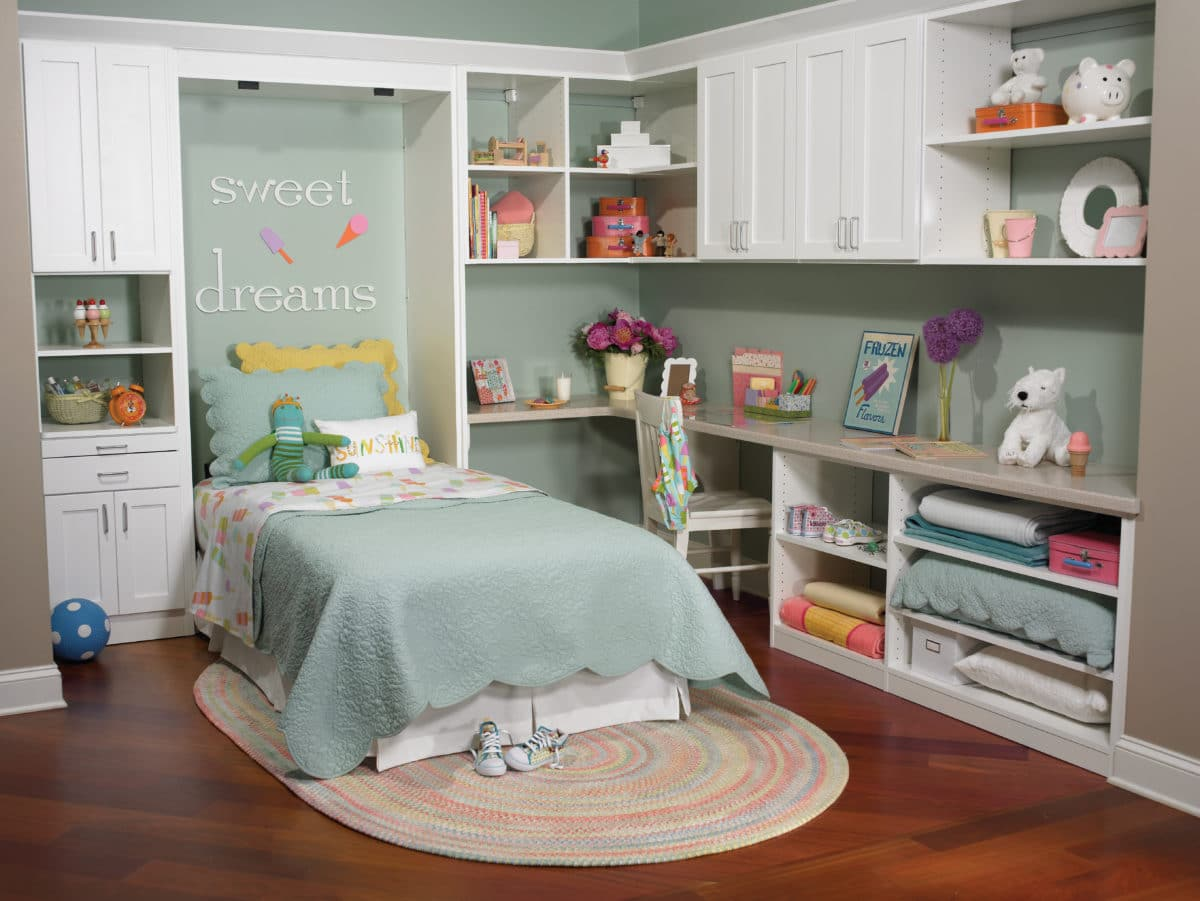 Wall bed for kids - Twin Size Murphy Style Wall Bed With Desk Cabinets And Shelving