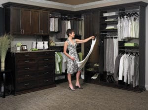 WALK-IN CLOSET WITH CUSTOM HUTCH IN COCOA