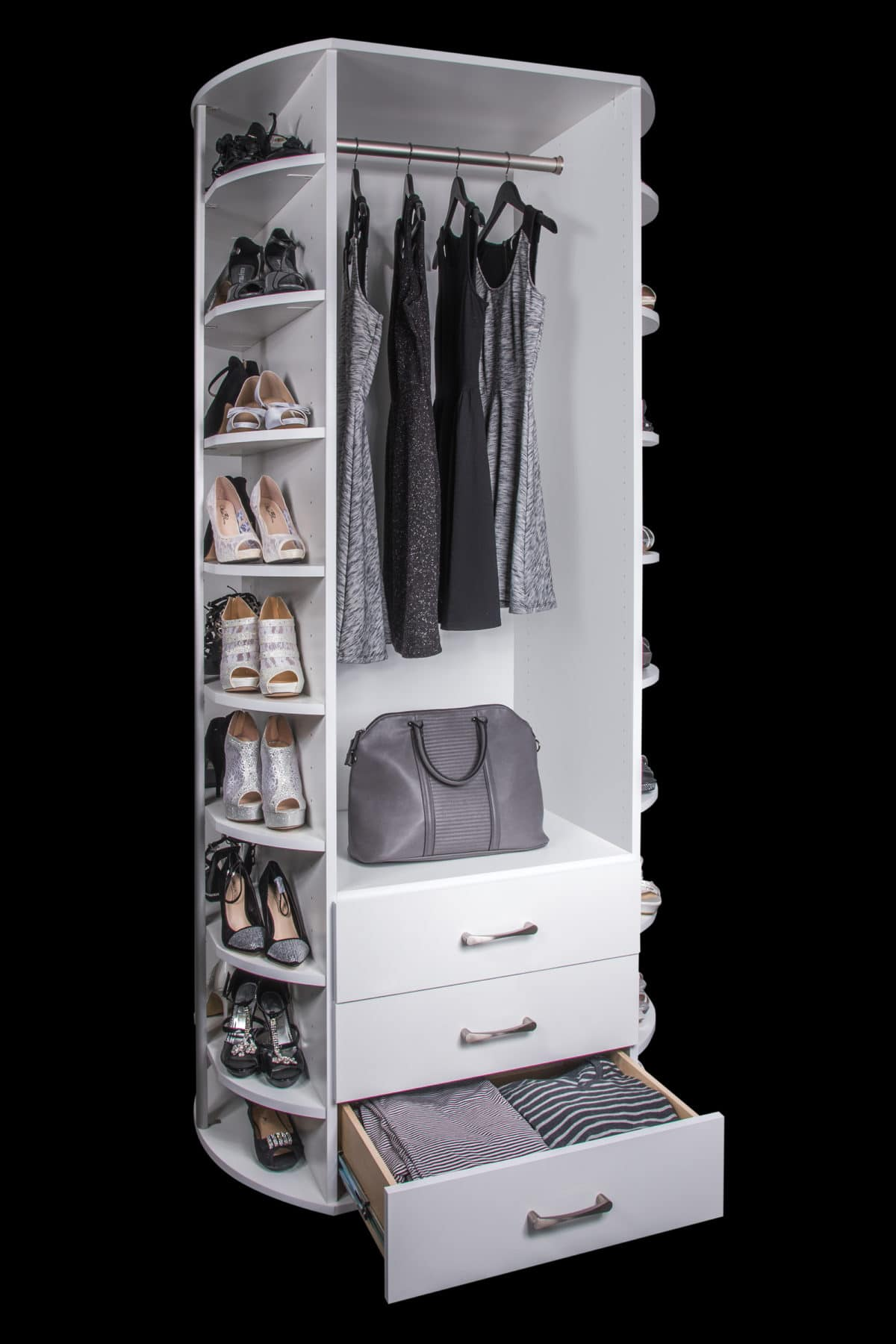 SPINNING CLOSET VALET WITH DRAWERS