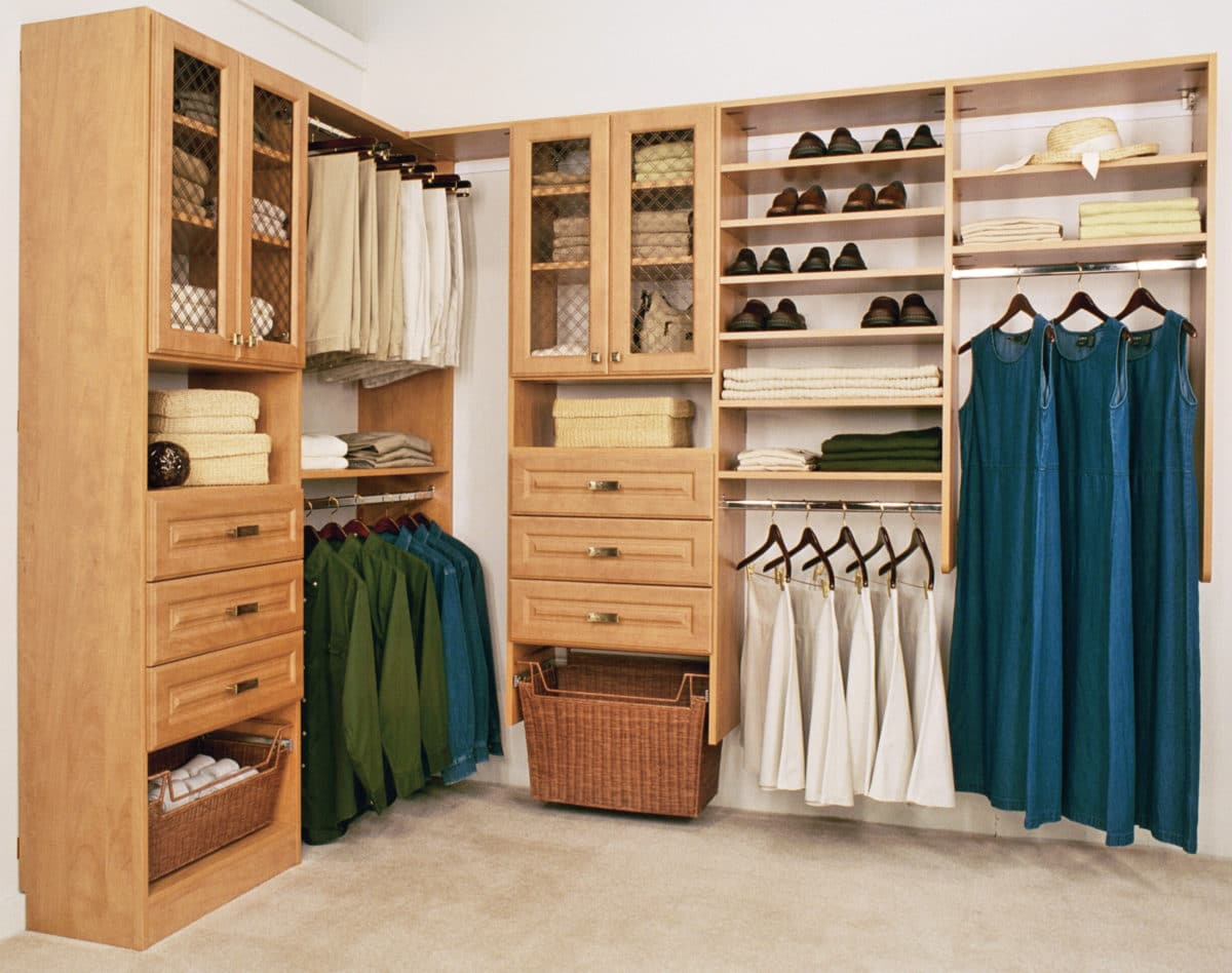 Custom Closet With Drawers And Builtin Hamper