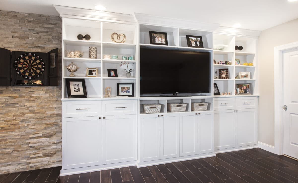 Custom Built In Entertainment Center Suspended Media With Storage Cabinets