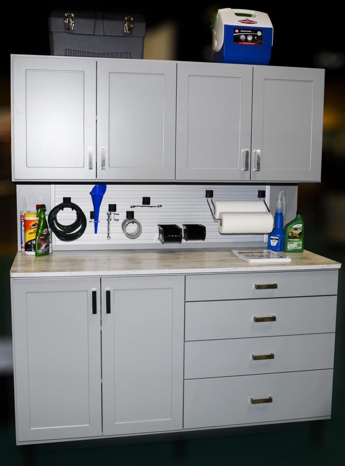 CUSTOM GARAGE CABINETS INTEGRATED WORKBENCH