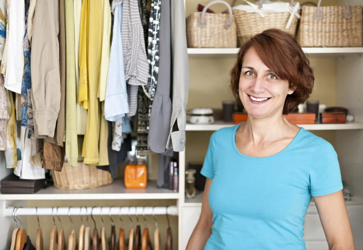 Professional organizer near closet