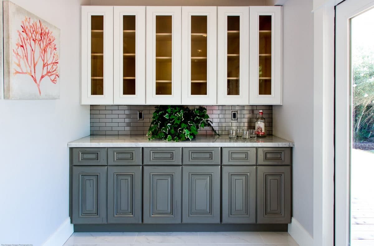 White kitchen cabinets with grey glaze - Grey And White Kitchen Storage Cabinets