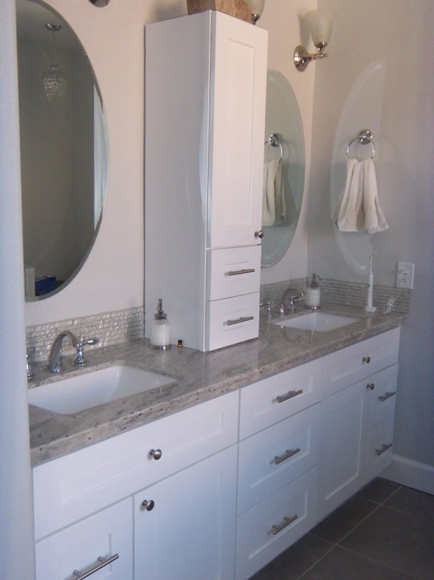white bathroom cabinets with granite. white shaker bathroom vanity granite countertop and glass backsplash white bathroom cabinets with granite e