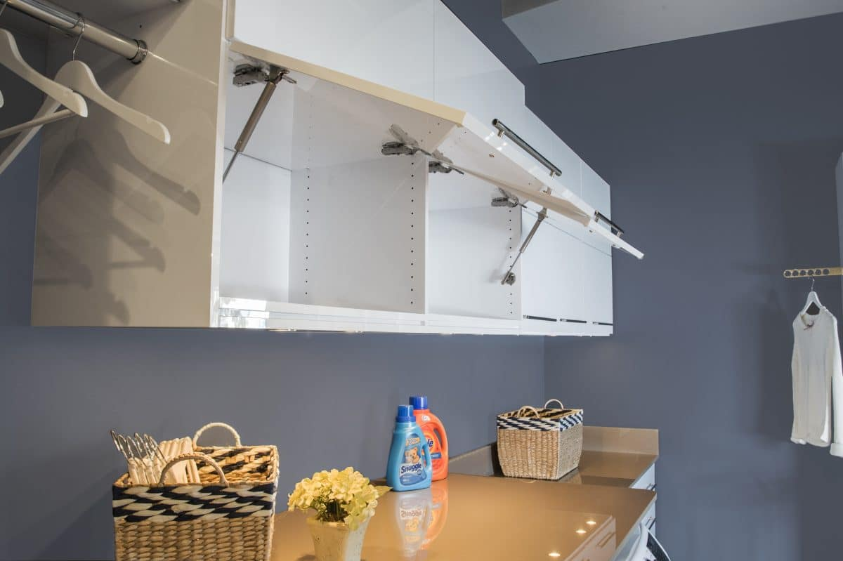 Laundry Room Storage System Overhead Cabinet Doors