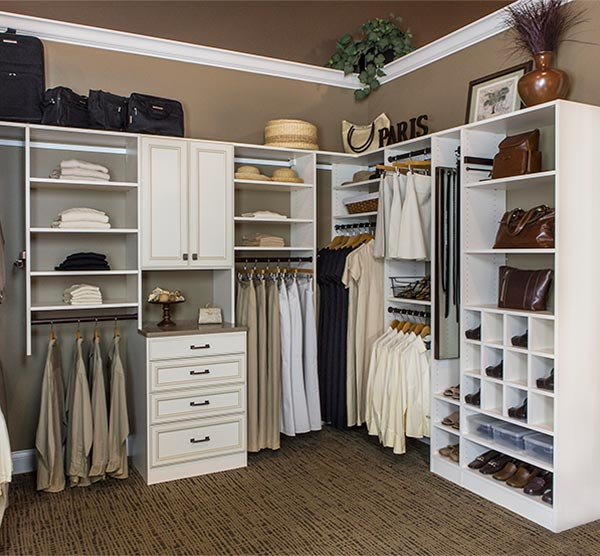 IVORY CUSTOM WALK IN CLOSET DESIGN WITH HUTCH