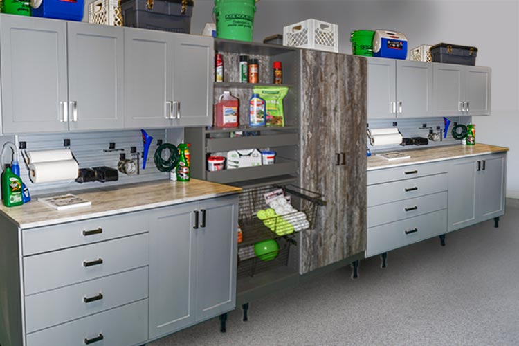 MULTIPLE WORK BENCHES WITH RUSTIC GARAGE STORAGE CABINET Amazing Ideas