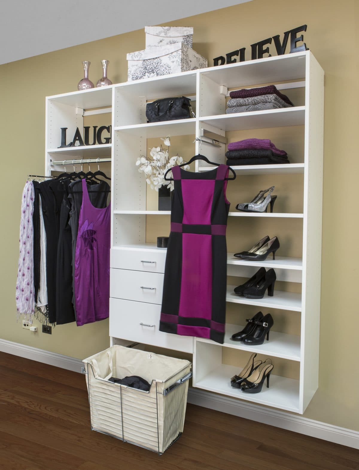 CUSTOM REACH IN CLOSET WITH CENTER DRAWERS, SHELVES AND PULL OUT LAUNDRY  BASKET
